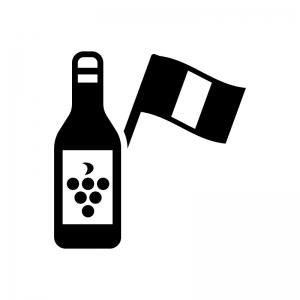 フランス産ワインの白黒シルエットイラスト