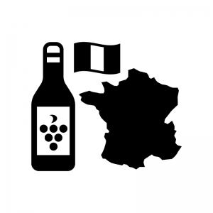 フランス産ワインの白黒シルエットイラスト02