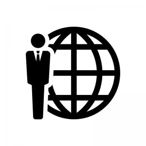 グローバルビジネスの白黒シルエットイラスト