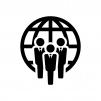 グローバルビジネスの白黒シルエットイラスト02