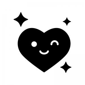 ご機嫌な表情のハートの白黒シルエットイラスト