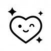 ご機嫌な表情のハートの白黒シルエットイラスト02