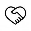 ハートの形の握手の白黒シルエットイラスト02