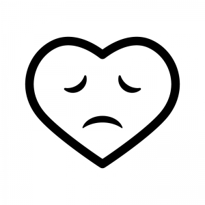 悲しい表情のハートの白黒シルエットイラスト02