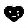 悲しい・泣いているハートの白黒シルエットイラスト