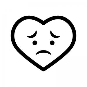 悲しい・切ない表情のハートの白黒シルエットイラスト02