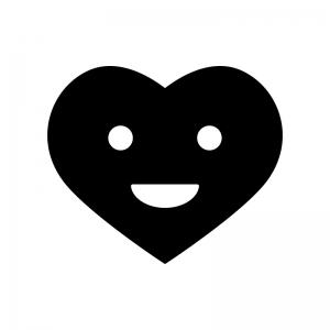 笑顔のハートの白黒シルエットイラスト