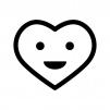笑顔のハートの白黒シルエットイラスト02