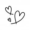 手書き風のハートの白黒シルエットイラスト02