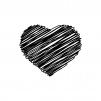 手書き風のハートの白黒シルエットイラスト03