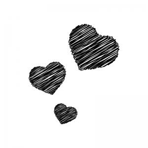 手書き風のハートの白黒シルエットイラスト04