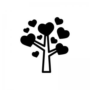 ハートのなる木の白黒シルエットイラスト