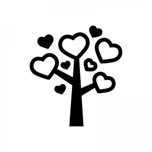 ハートのなる木の白黒シルエットイラスト02