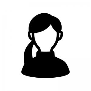 ハイネックの女性の白黒シルエットイラスト