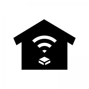 ホームネットワークの白黒シルエットイラスト02