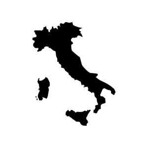 イタリアの白黒シルエットイラスト
