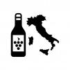 イタリア産ワインのシルエットイラスト