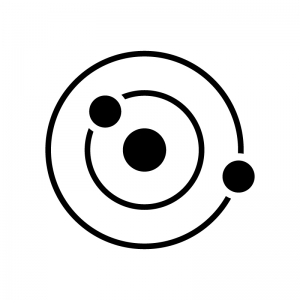 惑星の軌道の白黒シルエットイラスト