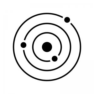 惑星の軌道の白黒シルエットイラスト02