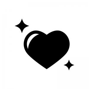 キラキラのハートの白黒シルエットイラスト