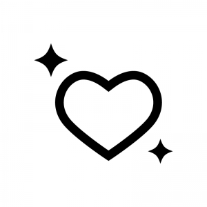 キラキラのハートの白黒シルエットイラスト02