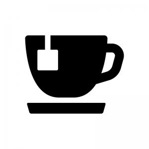 紅茶の白黒シルエットイラスト03