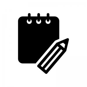 メモ帳と鉛筆の白黒シルエットイラスト02