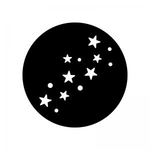 天の川の白黒シルエットイラスト
