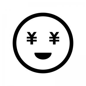 目がお金の白黒シルエットイラスト02