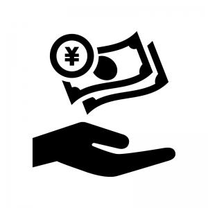 資産運用の白黒シルエットイラスト02