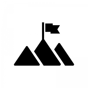 山のピークと旗の白黒シルエットイラスト