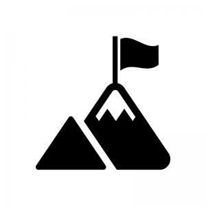 山のピークと旗の白黒シルエットイラスト02