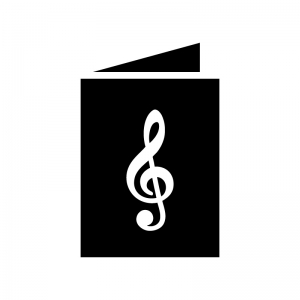 楽譜の白黒シルエットイラスト02