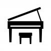グランドピアノの白黒シルエットイラスト04