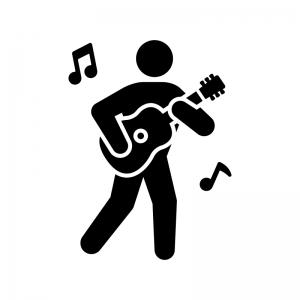 ギタリストの白黒シルエットイラスト02