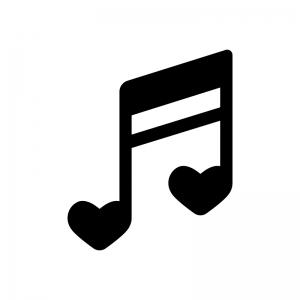 ハートの音符の白黒シルエットイラスト