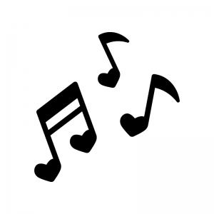 ハートの音符の白黒シルエットイラスト02