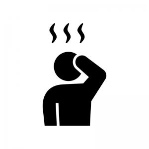 のぼせる・発熱の白黒シルエットイラスト