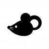ネズミの白黒シルエットイラスト05