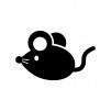 ネズミの白黒シルエットイラスト06
