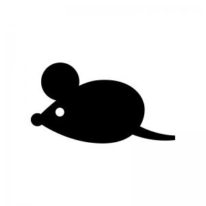 ネズミの白黒シルエットイラスト07