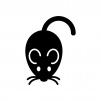 ネズミの白黒シルエットイラスト08
