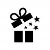 開いたプレゼント箱の白黒シルエットイラスト