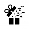 開いたプレゼント箱の白黒シルエットイラスト02