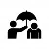 傘を差しだす人物の白黒シルエットイラスト