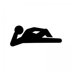 肘をついて横になる人の白黒シルエットイラスト02