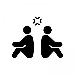 喧嘩(けんか)中の白黒シルエットイラスト