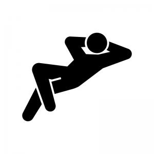 腕を頭の後ろにして寝ている人の白黒シルエットイラスト