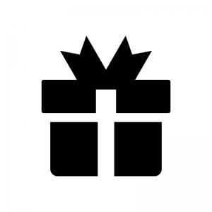 プレゼント箱の白黒シルエットイラスト02