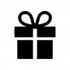 プレゼント箱の白黒シルエットイラスト04